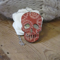 Large Hand Painted Red Wooden Skull Pendant Necklace