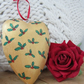 Christmas Wooden Hanging Heart with Holly Leaves