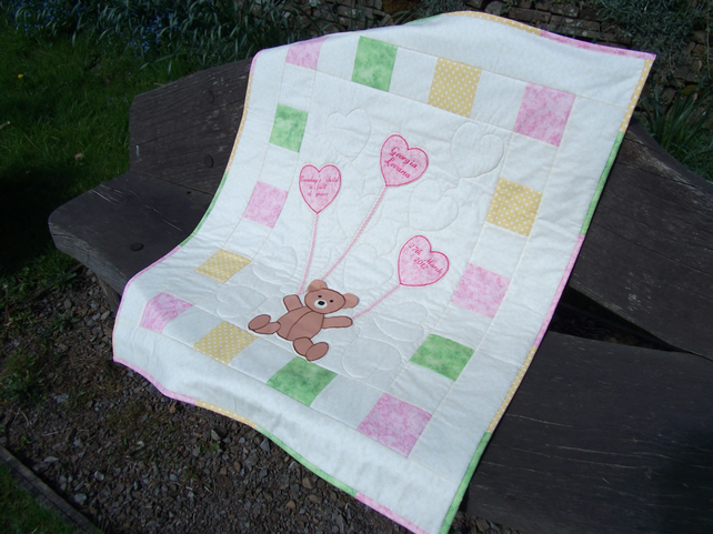 Personalised baby cot quilt, teddy with heart balloons