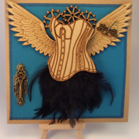 Steampunk Angel Bodice greeting card