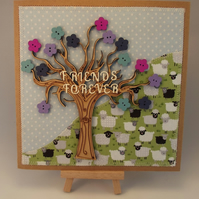 Friends Forever Fabric Greetings card