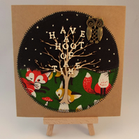 Have A Hoot of a Time Fabric Greetings Card