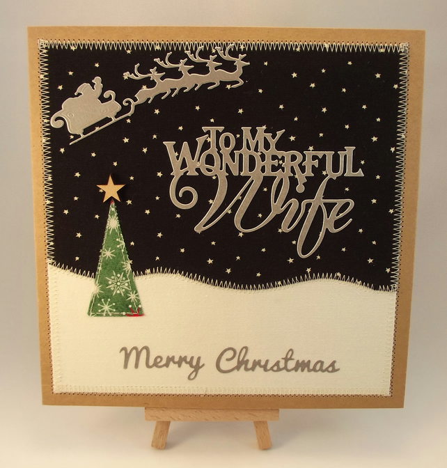Merry Christmas To My Wonderful Wife Fabric Chr...