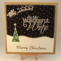Merry Christmas To My Wonderful Wife Fabric Christmas card