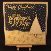Happy Christmas To My Wonderful Wife Fabric Christmas card