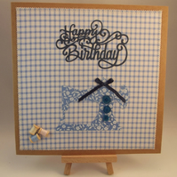 Happy Birthday Sewing Machine Fabric Birthday card