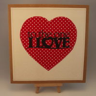 To The One I Love Fabric Greetings Card