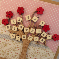 Happy Birthday Sister Fabric Greetings Card
