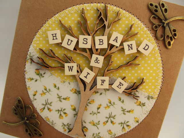 Husband and Wife Fabric Greetings Card