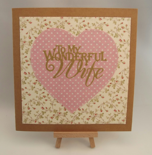To My Wonderful Wife Fabric Greetings Card
