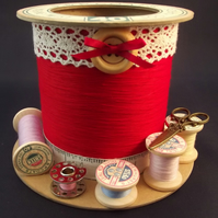 Pillar Box Red Cotton Reel Storage Pot