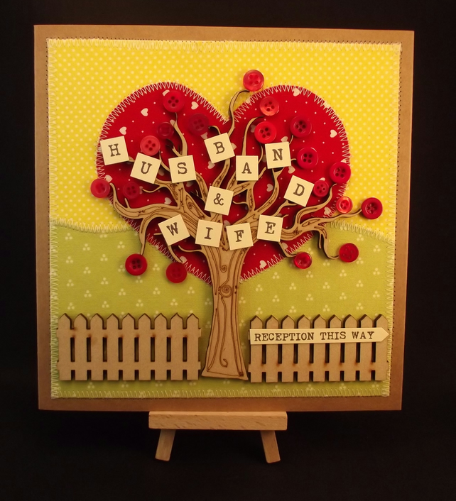 Husband and Wife Wedding Day Fabric Greetings Card