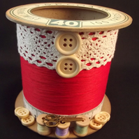 Pastel Red Cotton Reel Storage Pot
