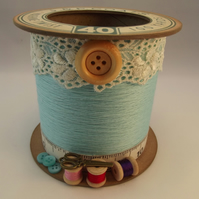 The Turquoise Cotton Reel Storage Pot