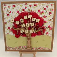 Sending You Love Fabric Greetings Card