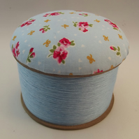 Blue Eyes Cotton Reel Pin Cushion