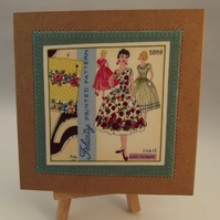 Couture Sewing Theme Fabric Greetings Card