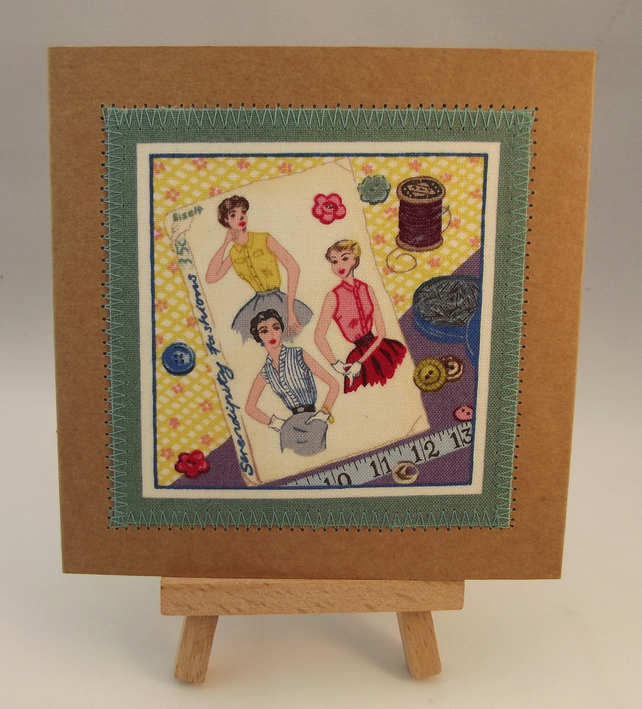 For The Love Of Sewing Fabric Greetings Card
