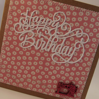 Happy Birthday Fabric Greetings Card