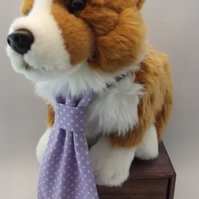 Lilac Polka Dot Fabric Dog Tie