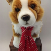 Red Polka Dot Fabric Dog Tie