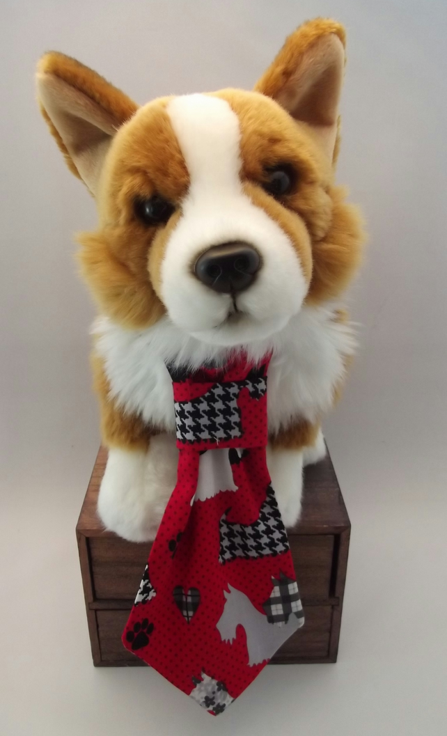 Scottie Pattern Fabric Dog Tie