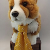 Yellow Polka Dot Fabric Dog Tie