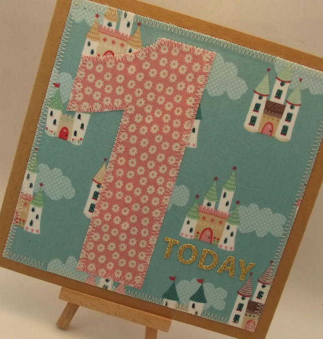 1 Today 1st birthday Childrens Fabric Birthday Card