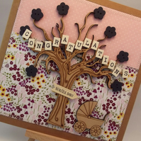 Congratulations beautiful Baby Fabric New Baby card