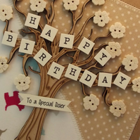 Happy Birthday To A Special Sister Fabric Greetings Card