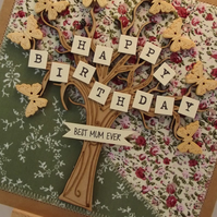 Happy Birthday Best Mum Ever Fabric Greetings Card
