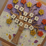 Bride And Groom Wedding Day Fabric card