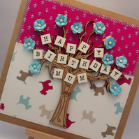 Happy Birthday Mum Fabric Greetings Card
