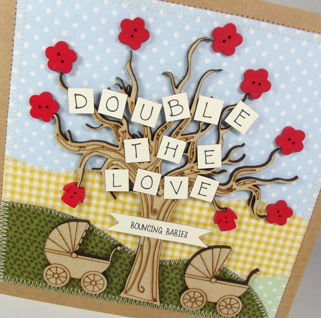 Double The Love Twins Fabric New Baby card
