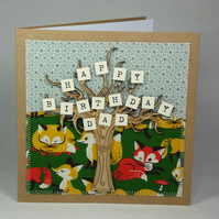 Happy Birthday Dad Fabric Greetings Card