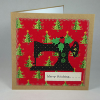 Merry Stitching Fabric Christmas Greetings Card