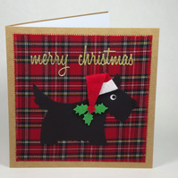 Santa Scottie Dog Fabric Christmas Greetings Card