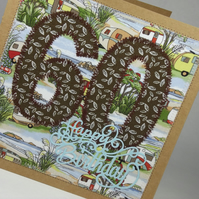 Happy 60th Birthday Fabric Greetings Card