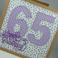 Happy 65th Birthday Fabric Greetings Card