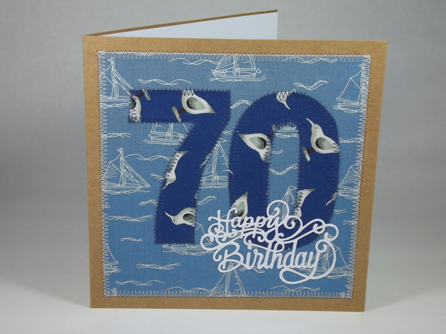 Happy 70th Birthday Fabric Greetings Card