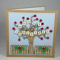 Merry Christmas Fabric Christmas Greetings Card