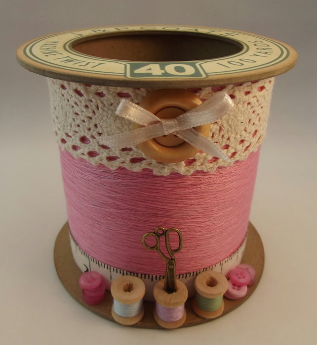 Candy Pink Cotton Reel Style Storage Pot