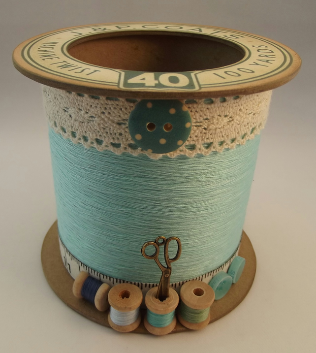 Aqua Cotton Reel Style Storage Pot