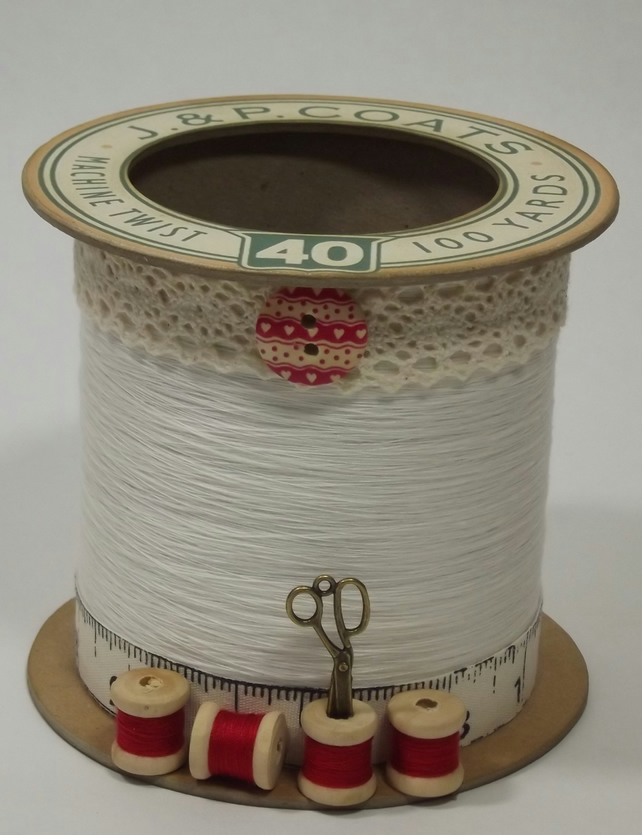 Red and Cream Cotton Reel Style Storage Pot