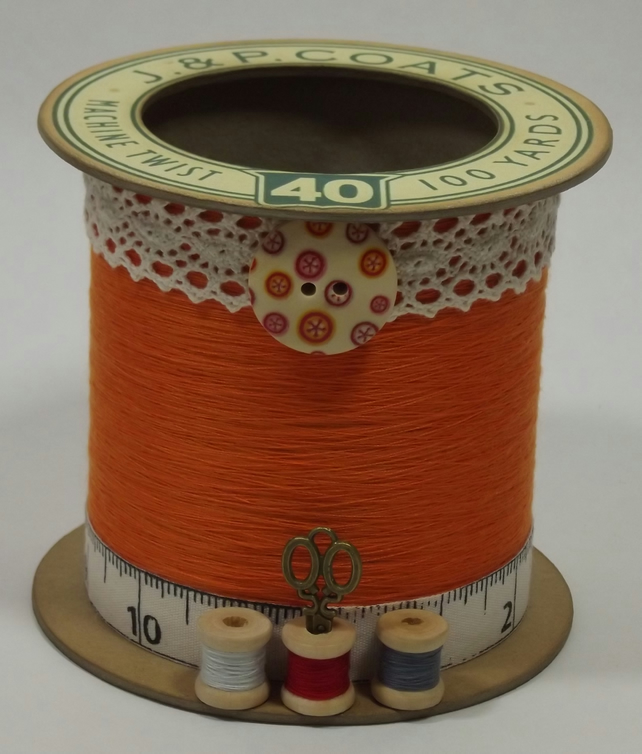 Burnt Orange Cotton Reel Style Storage Pot