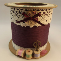 Mulberry Wine Cotton Reel Style Storage Pot