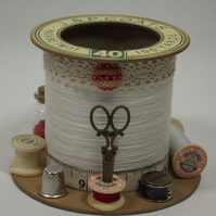 Beautiful Cream Cotton Reel Style Storage Pot