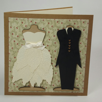 Bride And Groom Fabric Wedding Greetings Card