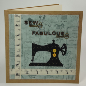 Sew Fabulous Fabric Greetings Card