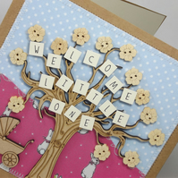Welcome Little one Fabric New Baby card